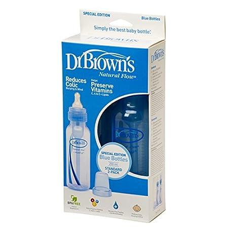 Pack de dos biberones boca estrecha color azul 250 ml Browns 212-ES Dr