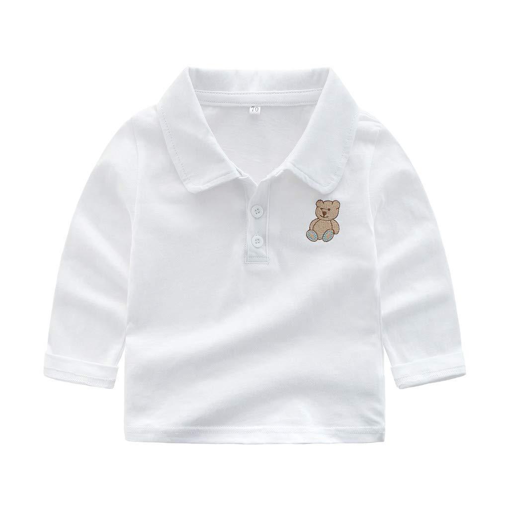 Kleinkind Kinder Baby Jungen Kleidung Button Up Kragen Langarm T-Shirt Cartoon B/är Polo Shirt T-Shirt Huhu833 Baby Sweatshirts
