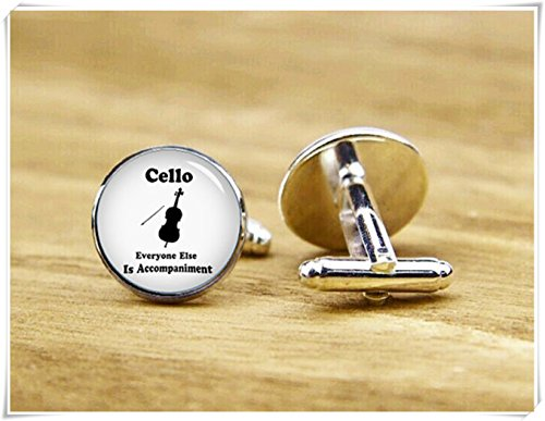 Magical magnet Cello Player Cufflinks Everyone Else is Accompaniment Personalized Cufflinks ()