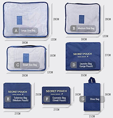 Packing-Cubes-Travel-Set-of-7-Packing-Organizer-and-Compression-Pouches-with-Shoe-BagTravel-Luggage-Suitcase-Organizer-Storage-BagTravel-Accessories-Toiletry-Shoe-and-Laundry-Bag