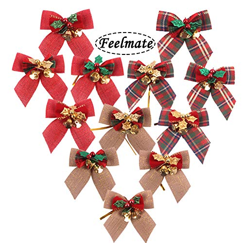 Feelmate Holiday Party Trends Set Mini Burlap Christmas Tree Bow Set Mixed Foil Tie 12Pcs