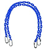 Fully Coated Chain 85 Inch Long x 2 + 4 Free Quick Links in Blue Water Resistant Chain Swingset Seat, Baby Swing, Toddler Swing, Trapeze Bar Playground Equipment Chain, Jungle Gym 2 (1 Pair)