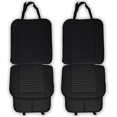 Car Seat Cushion, Full Size 2 PCS Breathable Universal Four Seasons Interior Front or Back Seat Covers for Auto Supplies Office Chair with PU Leather Bamboo Charcoal(Black)