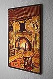 Tin Sign Retro Fireplace room