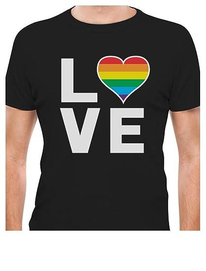 4bae068d494 Amazon.com  Gay Love - Rainbow Heart Gay Pride Awareness T-Shirt ...
