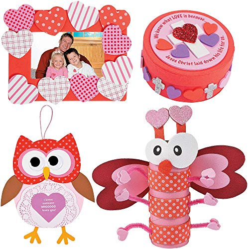 Valentine Day Craft kit | Heart Picture Photo Frame, Love Bug Craft Roll, Doily Owl Sign & Inspirational Round Box | Classroom Exchange Sunday School Homeschooling Art Supplies Activities Gift ()