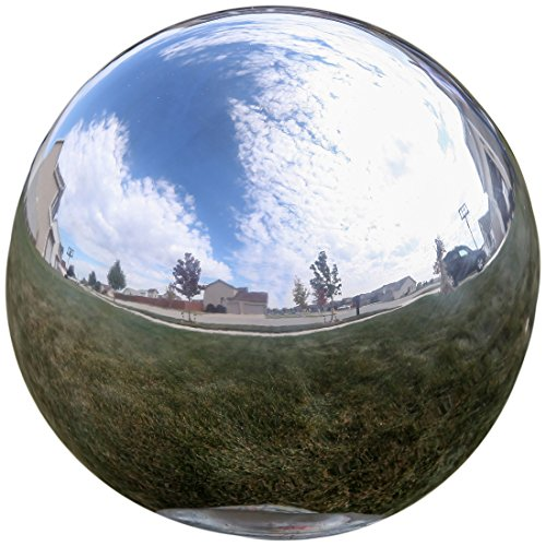- Lily's Home Gazing Globe Mirror Ball in Silver Stainless Steel - 10 Inch