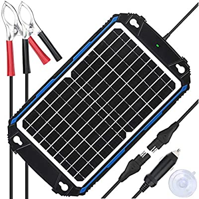 SUNER POWER Waterproof 12V Solar Battery Charger & Maintainer Pro - Built-in Intelligent MPPT Charge Controller - 12W Solar Panel Trickle Charging Kit for Car, Marine, Motorcycle, RV, etc : Garden & Outdoor