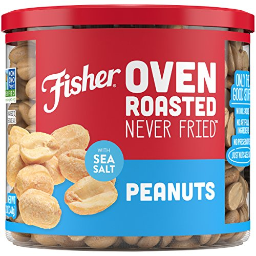 (FISHER Snack, Oven Roasted Never Fried, Peanuts, Made with Sea Salt, 12 oz)