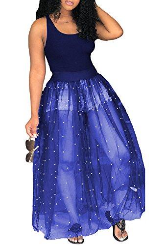 - Fadvanes Womens Sleeveless Tank Top with Beadings Mesh See Through Long Maxi Dress Party Clubwear Blue XL