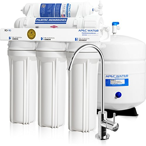 APEC Top Course Supreme Certified High Flow 90 GPD Ultra Safe Reverse Osmosis Drinking Water Filter System (Eventual RO-90)