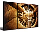 Wall Art Canvas Prints - Vintage Color Tone Fighter Yellow Rusted Turbine-type Jet Pictures HD Engine Airplane Head Ready To Hang for Business Office Room or Living room Industrial Style 48''