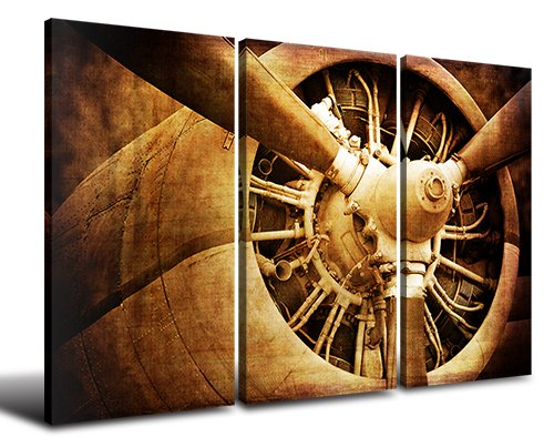 Wall Art Canvas Prints - Vintage Color Tone Fighter Yellow Rusted Turbine-type Jet Pictures HD Engine Airplane Head Ready To Hang for Business Office Room or Living room Industrial Style 48