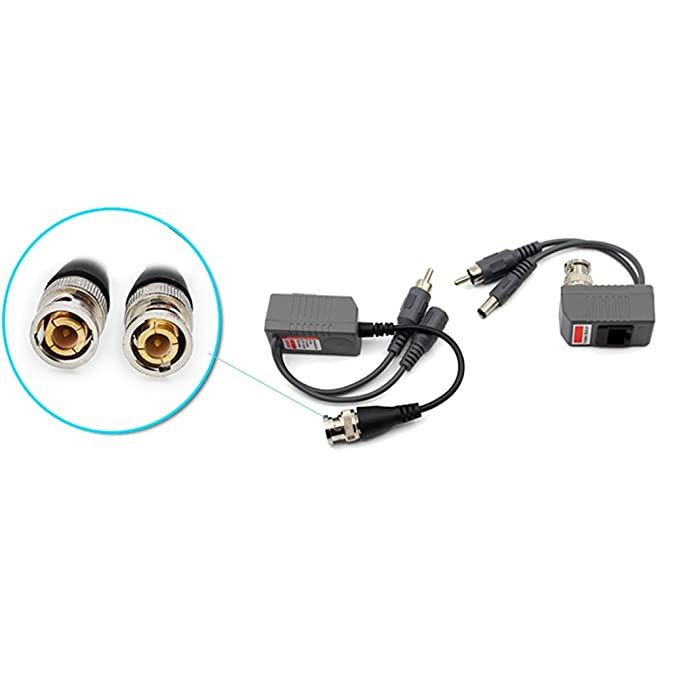 Amazon.com : Video Balun Network Transceiver with Video Audio Power Connectors CAT5/CAT6 to BNC 4 Pairs : Camera & Photo