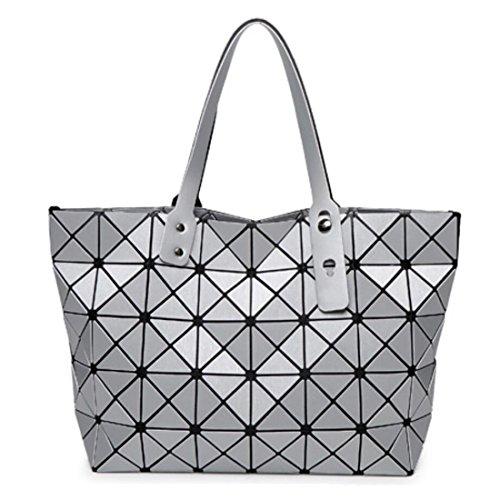Fashion Geometric Lattice Top-handle Handbag for Women Matte PU Leather Tote Purse and Handbags Geometry Shoulder Bag
