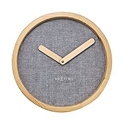 Unek Goods NeXtime Calm Wall Clock, Round, Natural Wood Frame & Hands, Soft Grey Fabric Face, Battery Operated