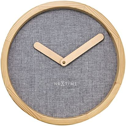 Unek Goods NeXtime Calm Wall Clock, Round, Natural Wood Frame Hands, Soft Grey Fabric Face, Battery Operated