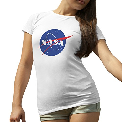 NASA Space Astronaut Logo Retro Scientist Meatball Geek Big Bang Theory Gift White T-Shirt for Ladies Small