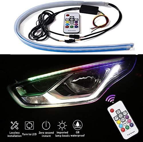 Flexible Car LED Light Strip - 2 Pcs 17 inch Multi Color LED Daytime Running Lights Waterproof Kit and Turn Signal Light Sequential Switchback - for Car Headlight Surface Strip Lights Tube / Flexible Car LED Light Strip - 2 Pcs 17 ...