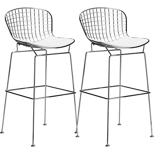 Bertoia Bar Stool Seat Pad (Poly and Bark Bertoia Style Wire Bar Stool in White (Set of 2))
