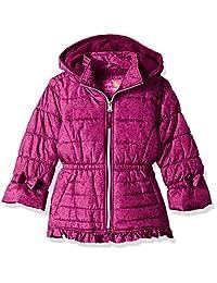 Pink Platinum Girls Lace Puffer Ruffle