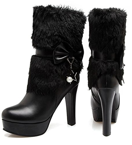 Chunky High Fur Faux SHOWHOW Women's Booties Black Pearl Heels Lined Bow Lovely w88pXx0T
