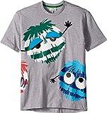 Fendi Kids Boy's Short Sleeve Logo Fur Monster Graphic T-Shirt (Big Kids) Grey 12 Years
