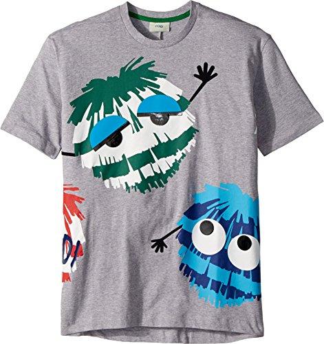 Fendi Kids Boy's Short Sleeve Logo Fur Monster Graphic T-Shirt (Big Kids) Grey 12 Years by Fendi Kids (Image #2)