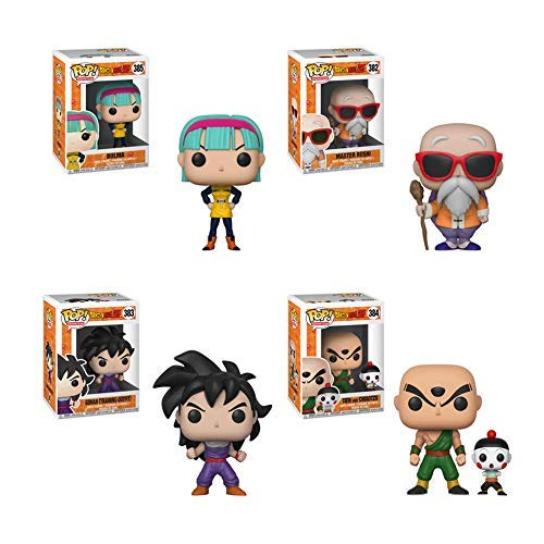 Funko Pop! Bundle of 4: Dragon Ball Z - Bulma, Chiaotzu & Tien, Gohan (Training Outfit) and Master Roshi w/Staff