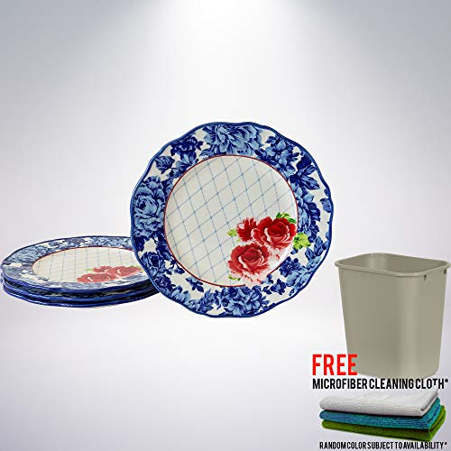 Heritage Floral Dinner Plates, set of 4 Bundle with One (1) Commercial Standard Series Wastebasket with Free Microfiber Cleaning Cloth - Floral 1 Dinner Plate
