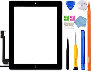 GoodFixer for iPad 4 Screen Replacement, A1458 A1459 A1460 Digitizer, iPad 4th Generation TouchScreen Assembly Kits + Bezel Frame