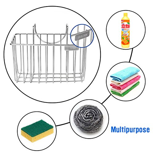 Kitchen Sponge Holder, HBlife Stainless Steel Sink Caddy Organizer Soap Dishwashing Liquid Drainer Brush Rack Holder