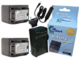 2x Pack - Canon VIXIA HF R60 Battery + Charger with Car & EU Adapters Replacement - For Canon BP-727, BP-718 Digital Camcorder Battery and Charger (2400mAh, 3.6V, Lithium-Ion)