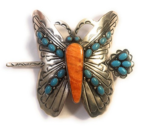 Navajo Spiny Oyster, Turquoise Sterling Silver Butterfly Hair Pin Signed from Nizhoni Traders LLC