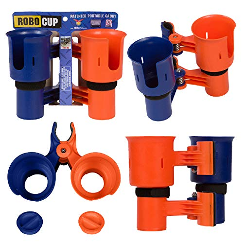 ROBOCUP ORANGE&NAVY, UPGRADED VERSION, Best Cup Holder for Drinks, Fishing Rod/Pole, Boat, Beach Chair/Golf Cart/Wheelchair/Walker. ()