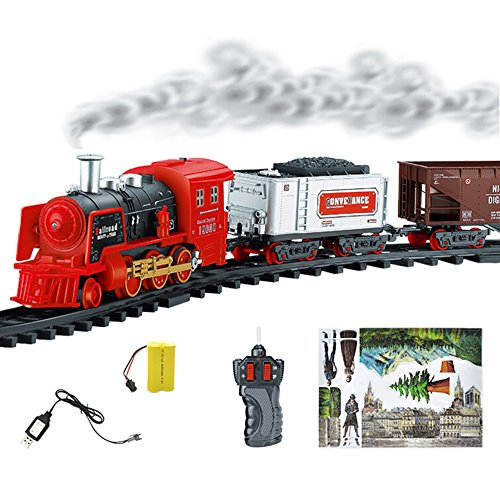 (Swovo Remote Control Classic Bachmann Trains Set Simulation RC Train Set with Lights Sounds & Real Smoke Figurine Pack)