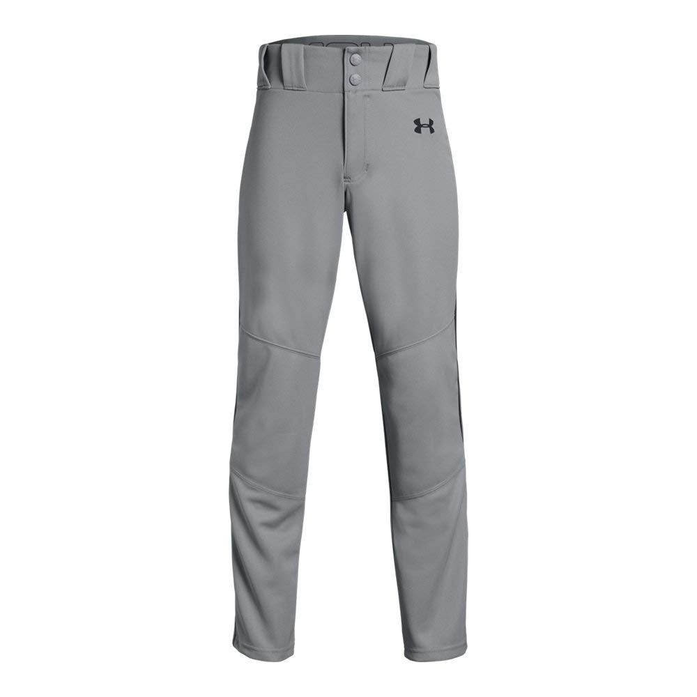 Under Armour Boys' Utility Relaxed Piped Baseball Pant, Gray (080)/Black, Youth X-Large by Under Armour