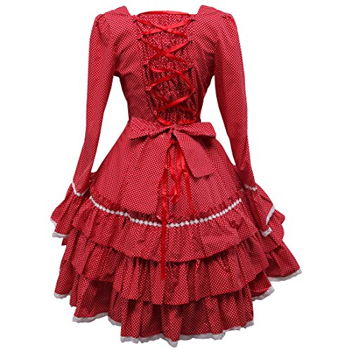 Lolita Rot Kleider Partiss Damen Applique Langarm Suesses Love Sweet 84FanYxwa