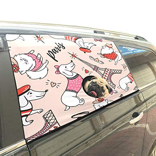 Cartoon Hat Dog Pet Dog Safety Car Part Vehicle Auto Window Fence Curtain Barriers Protector for Baby Kid Sun Shade Cover Universal Fit SUV ()