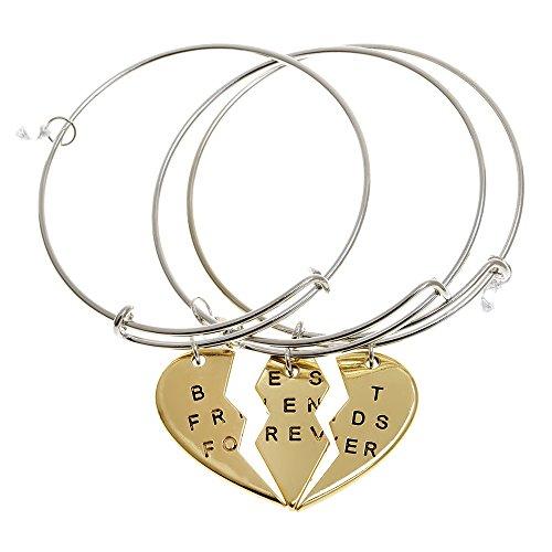 ISHOW 3 Parts Broken Heart Best Friends Forever Bff Gift Adjustable Bangle Bracelet (Gold, 3pcs/set)