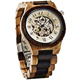 JORD Wooden Watches for Men - Dover Series Skeleton Automatic / Wood Watch Band / Wood Bezel / Self Winding Movement - Includes Wood Watch Box (Zebrawood & Cream)