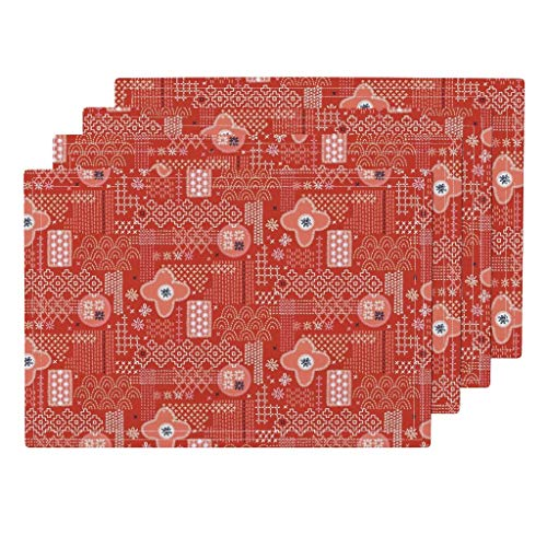 - Red Fauxboro 4pc Eco Canvas Cloth Placemat Set - Embroidery Geometric Japanese Thread Yarn Stitch Collage Abstract by Pennycandy (Set of 4) 13 x 19in