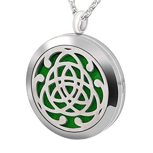 Popeoiuh Premium Aromatherapy Essential Oil Diffuser Necklace,Celtic Tribal Totem Locket Pendant with 8 Washable Pads + 24