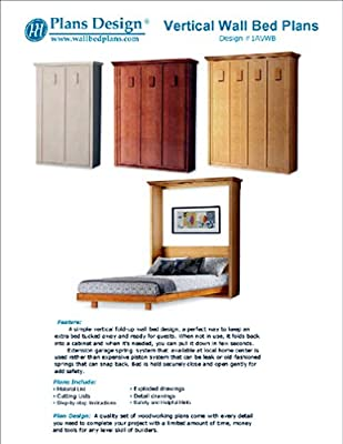 Low-Cost DIY Murphy Wall Bed Frame Woodworking Plans King, Queen, Full and Twin Included; 1AVWB from Plans Design