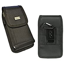 [fits iPhone SE 5S 5C 5 with LifeProof fre series protective cover on] Pouch Holster Rugged Nylon Carrying Case w/ Stainless Belt Clip Vertical/Horizontal Belt Loops+Hook (iP5 BLACK NYLON)