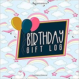 Birthday Gift Log List Registry Checklist Record Book Recorder Organizer Keepsake Cute Unicorns Cover Volume 66