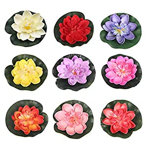 RONRONS 9 Pack Artificial Floating Foam Lotus Flowers with Water Lily Pad Ornaments, Colorful 32