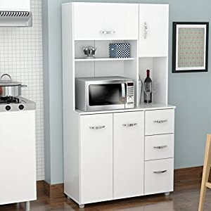 Kitchen Pantry With Microwave Cart, Storage Cabinet Laminated In  Double Faced Durable Melamine Which Is Stain, Heat And Scratch Resistant,  ...