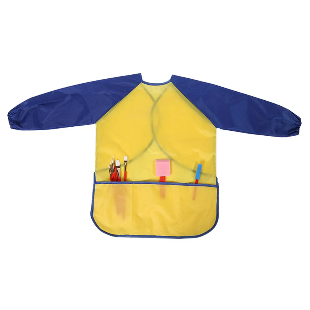 Children Waterproof Artist Painting Aprons with Long Sleeve and 3 Pockets for Age 2-8 Years Toddler Kids Petift Kids Art Smocks Yellow, 1 Pack