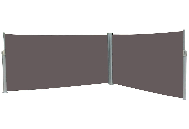 120x600 cm vanvilla Doppel Seitenmarkise Eck Markise Sichtschutz Windschutz Sonnenschutz Anthrazit 120x600 cm